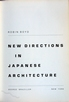 New Directions in Japanese Architecture.